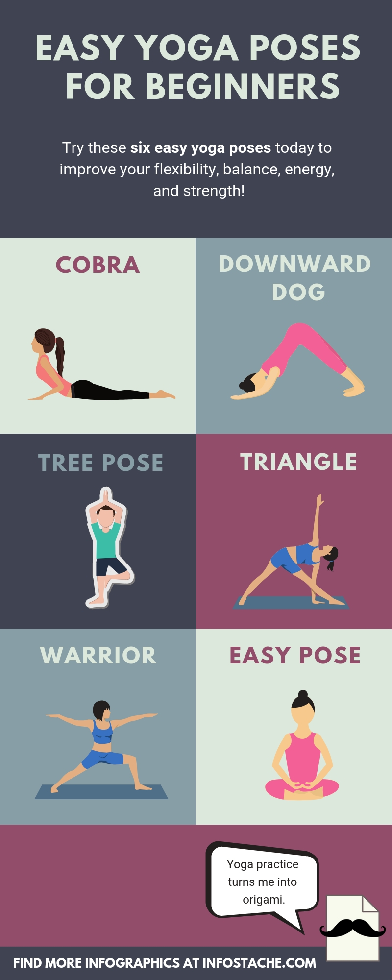 Easy Yoga Poses for Beginners [Infographic] - Infostache